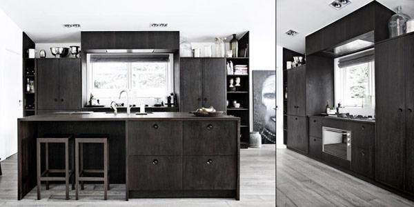 Grijze keuken vloer - Zwarte houten keuken ...